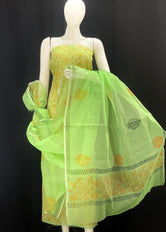 Royal Green base with Orange floral Designer Handblock Printed Cotton Kota Doria un-stitched Suit With Dupatta