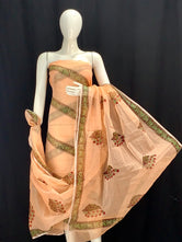 Peach Rajasthani Striped Designer Handblock Printed Cotton Kota Doria un-stitched Suit With Dupatta