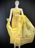 Yellow base overall Floral Designer Handblock Printed Cotton Kota Doria un-stitched Suit With Dupatta