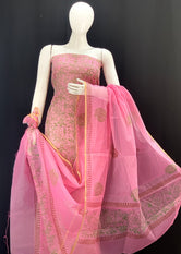 Pink Overall Floral Designer Handblock Printed Cotton Kota Doria un-stitched Suit With Dupatta