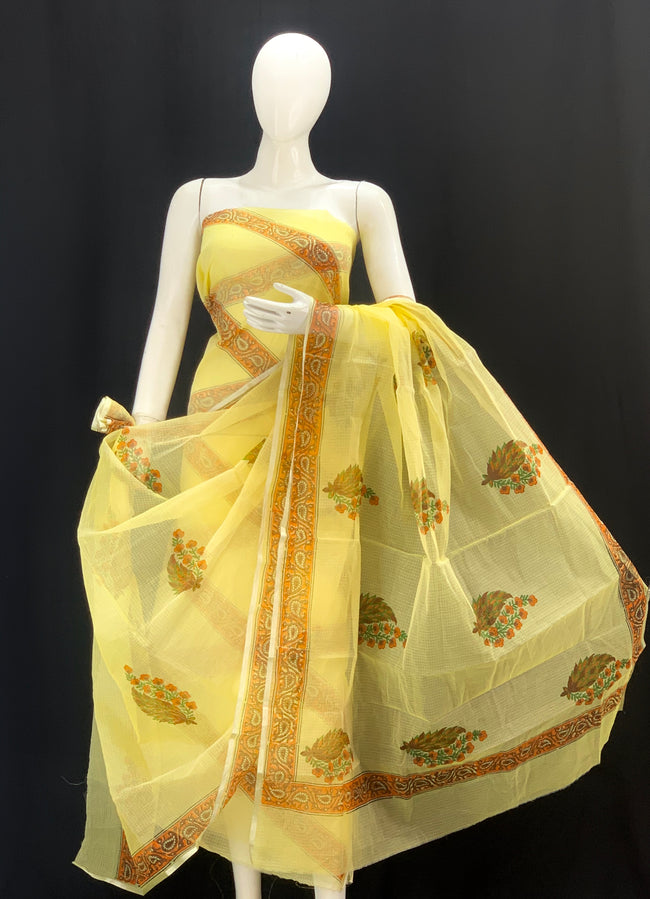 Yellow base with Striped Royal Rajasthani  Handblock Printed Cotton Kota Doria un-stitched Suit With Dupatta