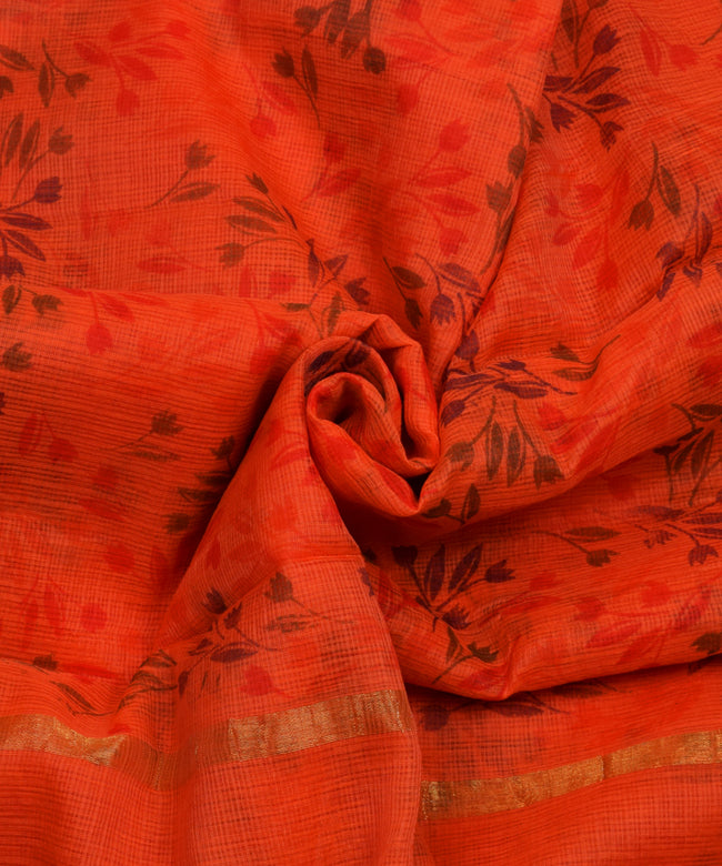Leaves Prints Orange Cotton Kotadoria Saree With Blouse