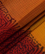 Pure Cotton Orange & Green Floral Print Kotadoria Saree