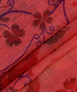 Red Floral Print Zari Border Kotadoria Cotton Saree With Blouse