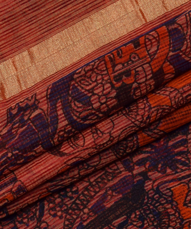 Baarat Print Orange Zari Border Cotton Kotadoria saree With Blouse