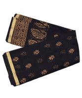 Black Fully Golden Print Zari Border KotaDoria Cotton Saree With Blouse