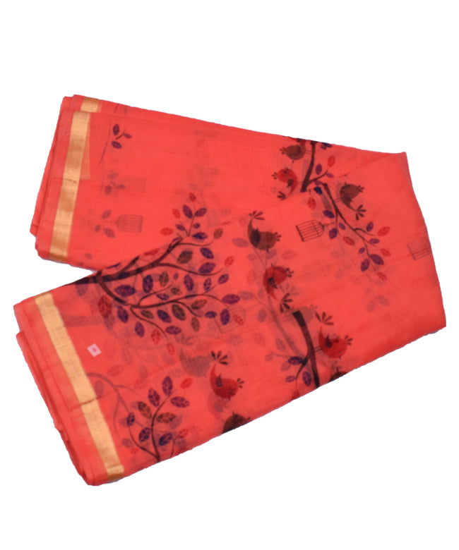 Bird Print Zari Border KotaDoria Cotton Saree With Blouse
