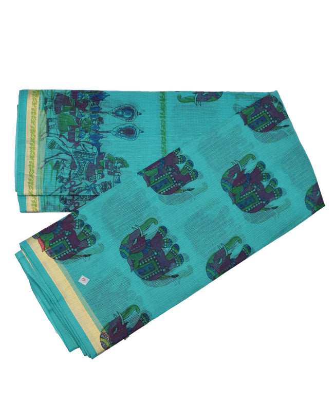 Sky Blue Elephant Block Print Cotton  Kota doria Saree Zari Border With Blouse