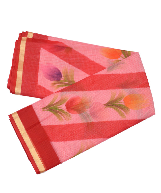 Floral Print Zari Border Cotton Kotadoria Saree With Blouse