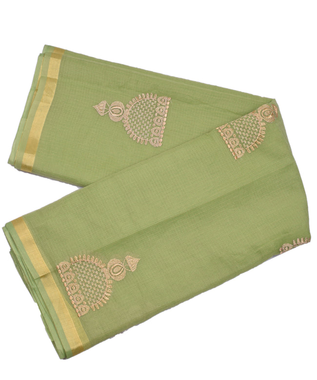 Light Green Embroidery Golden Work Zari Border KotaDoria Cotton Saree With Blouse