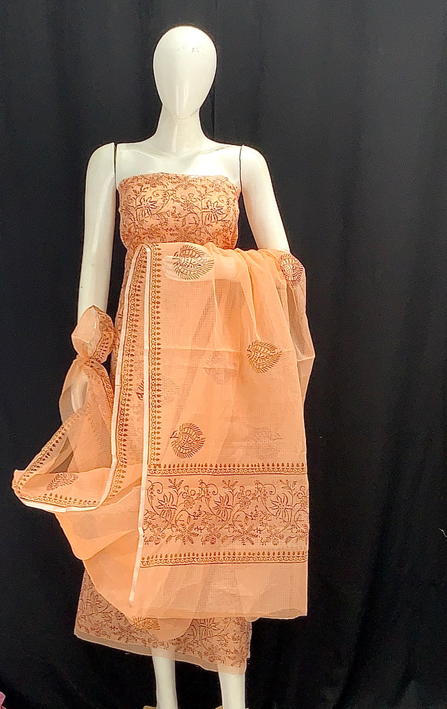 Orange Floral Designer Handblock Printed Cotton Kota Doria un-stitched Suit With Dupatta