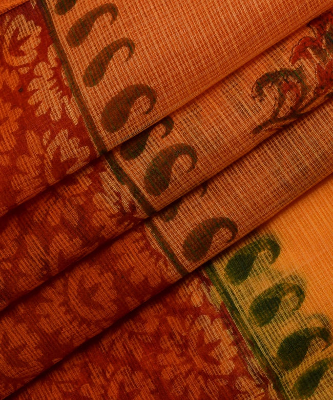 Pure Cotton Orange Floral Print Kotadoria saree