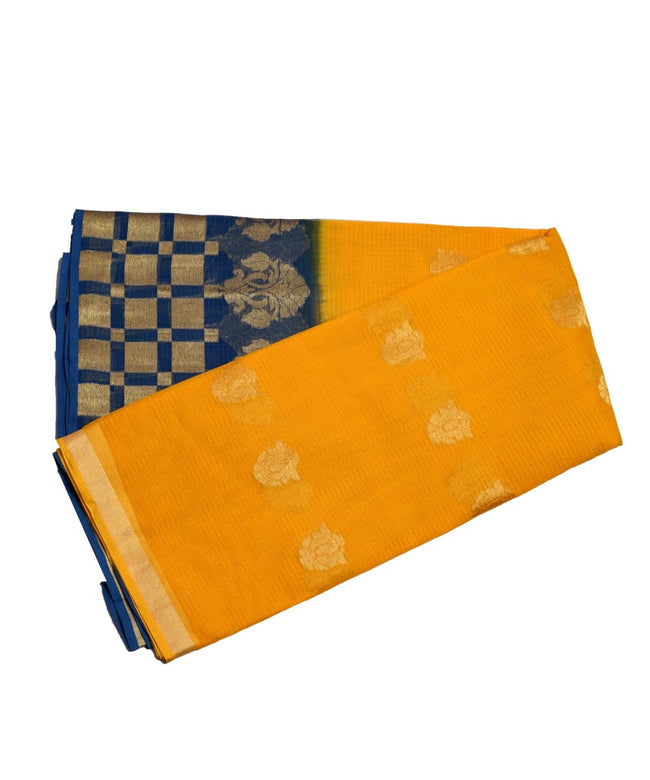 Yellow Blue Golden Work Zari Border KotaDoria Weaving Saree With Blouse