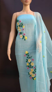 Sky Blue Cotton Kotadoria Embroidery Dress Materials