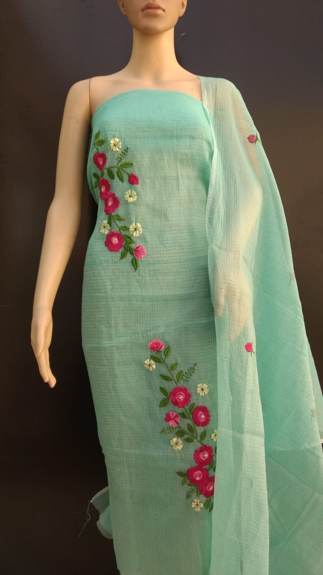 light Green Cotton Kotadoria Embroidery Dress Materials