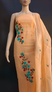 Orange COTTON KOTADORIA EMBROIDERY DRESS MATERIALS