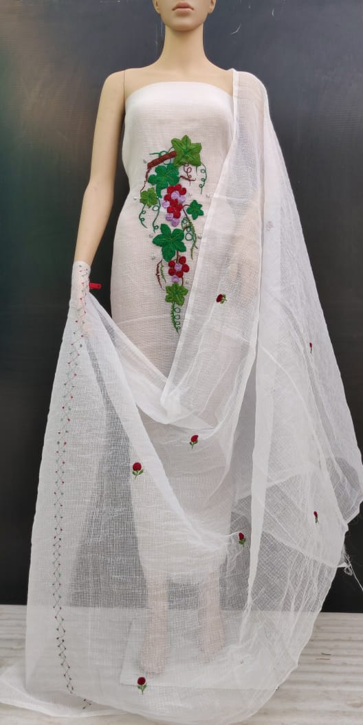 White Fabric Leaves Cotton Kotadoria Embroidery Dress Material