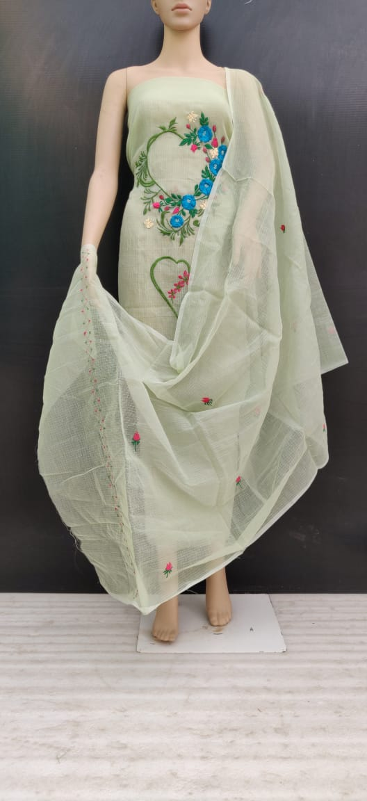 Light Green Floral Cotton Kotadoria Embroidery Dress Materials