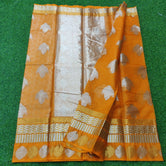 Orange Kota Doria Pure Silk Weaving Saree