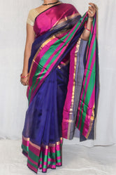 Pink Blue Kotadoria Silk Saree With Unique Print
