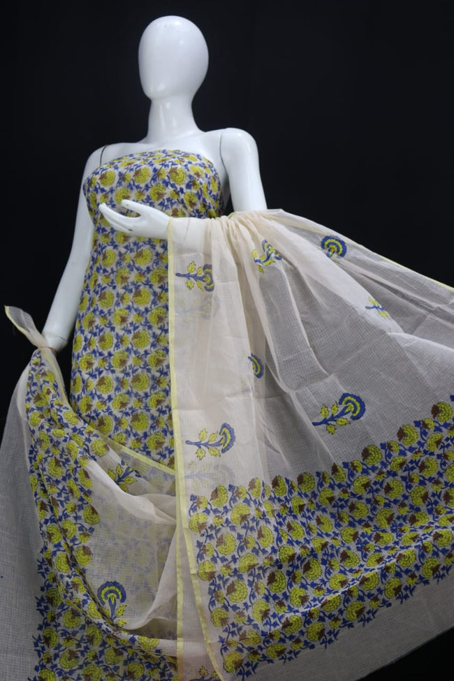 DESIGNER Yellow Blue FLOWER HAND BLOCK PRINT KOTA DORIA SUIT