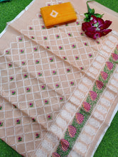 "KOTA COTTON ""CHICKENKARI EMBROIDERY"" SAREE WITH BLOUSE"