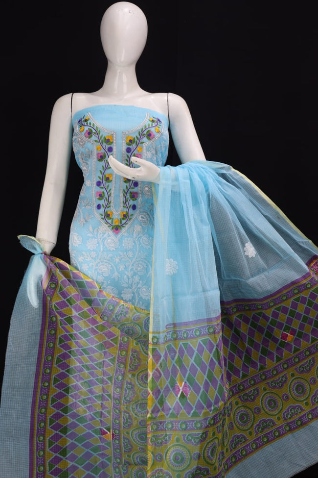 Sky Blue KOTA DORIA CHIKANGARI EMBROIDERY WORK DRESS MATERIAL