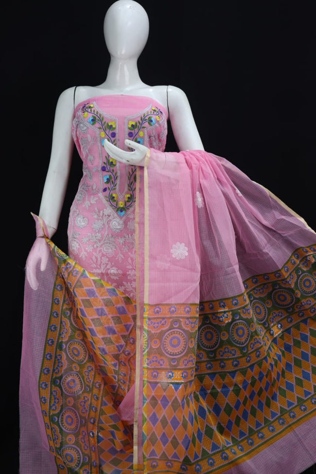 PINK BASE KOTA DORIA CHIKANGARI EMBROIDERY WORK SUIT