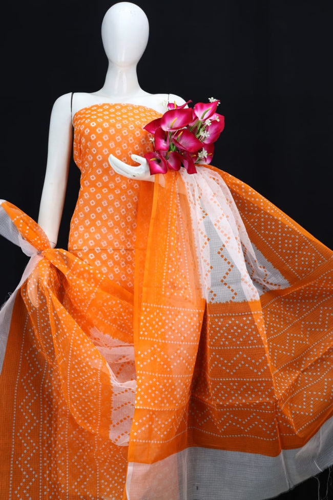 Orange Classic Printed Kota Doria Cotton Fabric Dress Material