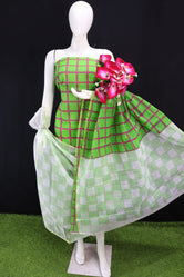 Green Square Printed Kota Doria Cotton Fabric Dress Material