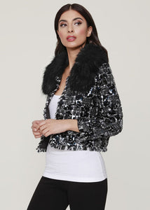 Sequin Tweed Jacket w/ Detachable Fur Collar by Dolce Cabo *Multiple Colors Available*