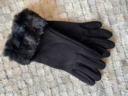 Woven Glove w/ Fur Trim by Sophia *Multiple Colors Available*