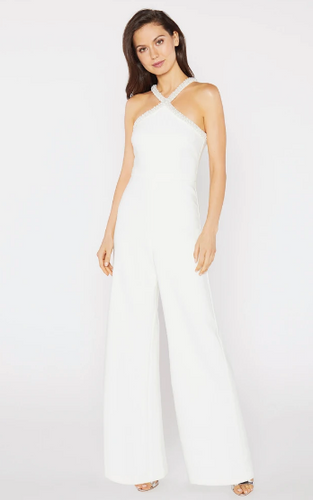 White Pearl Neckline Jumpsuit by Likely