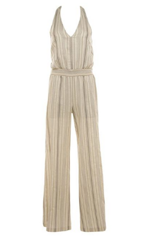 Natural Jumpsuit with Gold Stripe by Drew