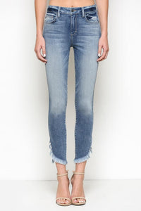 Taylor High Rise Side Distress Hem Skinny