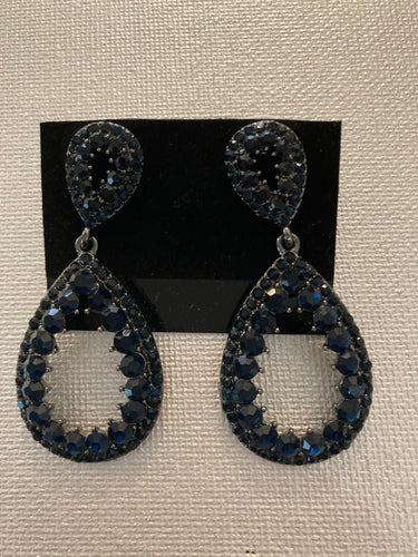 Navy & Black Rhinestone Drop Earring by Sophia