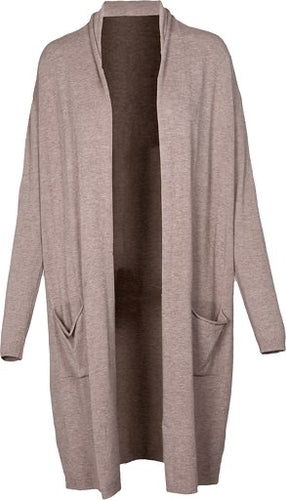 Taupe Knit Long Sleeve Cardigan by M Made in Italy