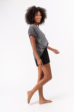 Woven Knit Back Short Sleeve Top