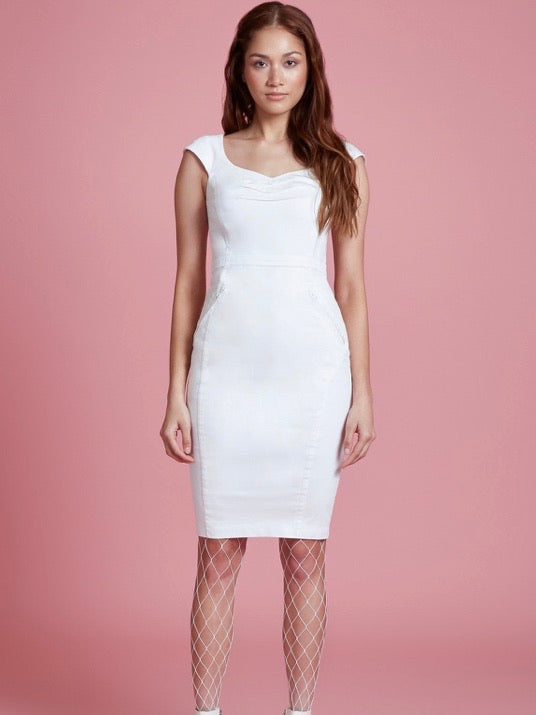 Stretch Twill V Back Cap Sleeve Sheath Dress by Byron Lars