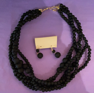 Black Beaded Earring & Necklace by Sophie