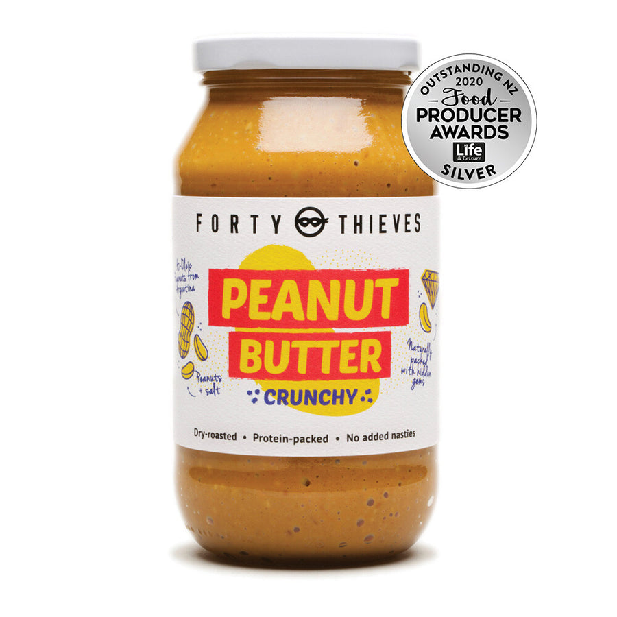Forty Thieves crunchy peanut butter. Dry roasted and protein packed. Fill Good Store Cambridge