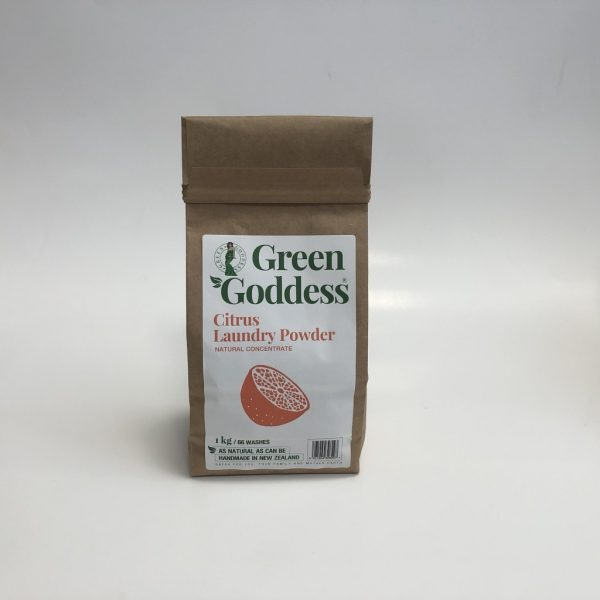 Green Goddess Citrus laundry powder, 1kg bag, sustainable paper bag packaging. Fill Good Cambridge