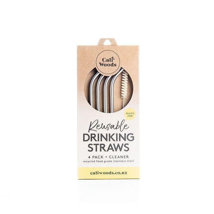 Caliwoods reusable stainless steel reusable drinking straws. Pack of 4. Recycled cardboard packaging. Waste free, plastic free living. Fill Good Cambridge