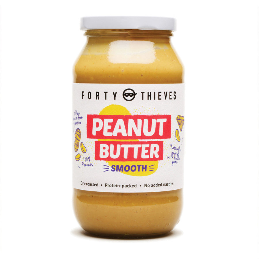 Forty Thieves smooth peanut butter. Dry roasted and protein packed. Fill Good Store Cambridge