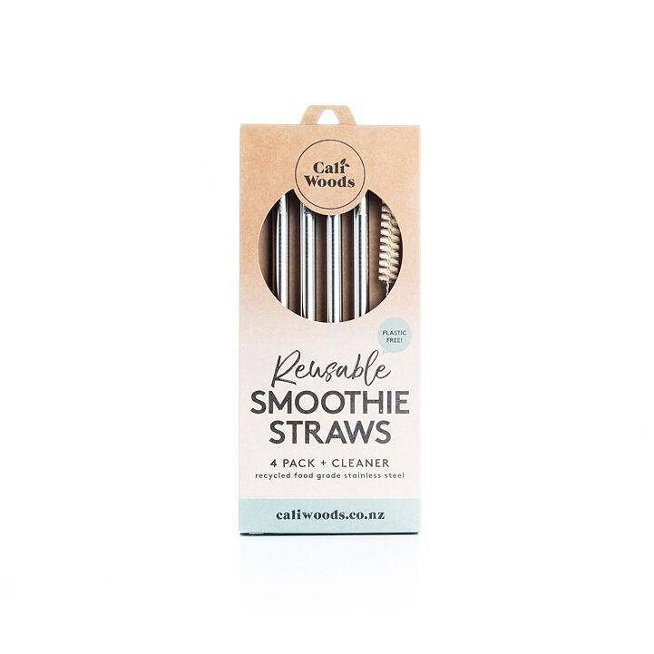 Caliwoods reusable stainless steel smoothie straws. Pack of 4. Recycled cardboard packaging. Waste free, plastic free living. Fill Good Cambridge