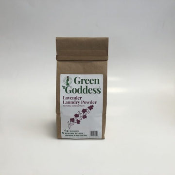 Green Goddess Lavendar laundry powder, 1kg bag, sustainable paper bag packaging. Fill Good Cambridge