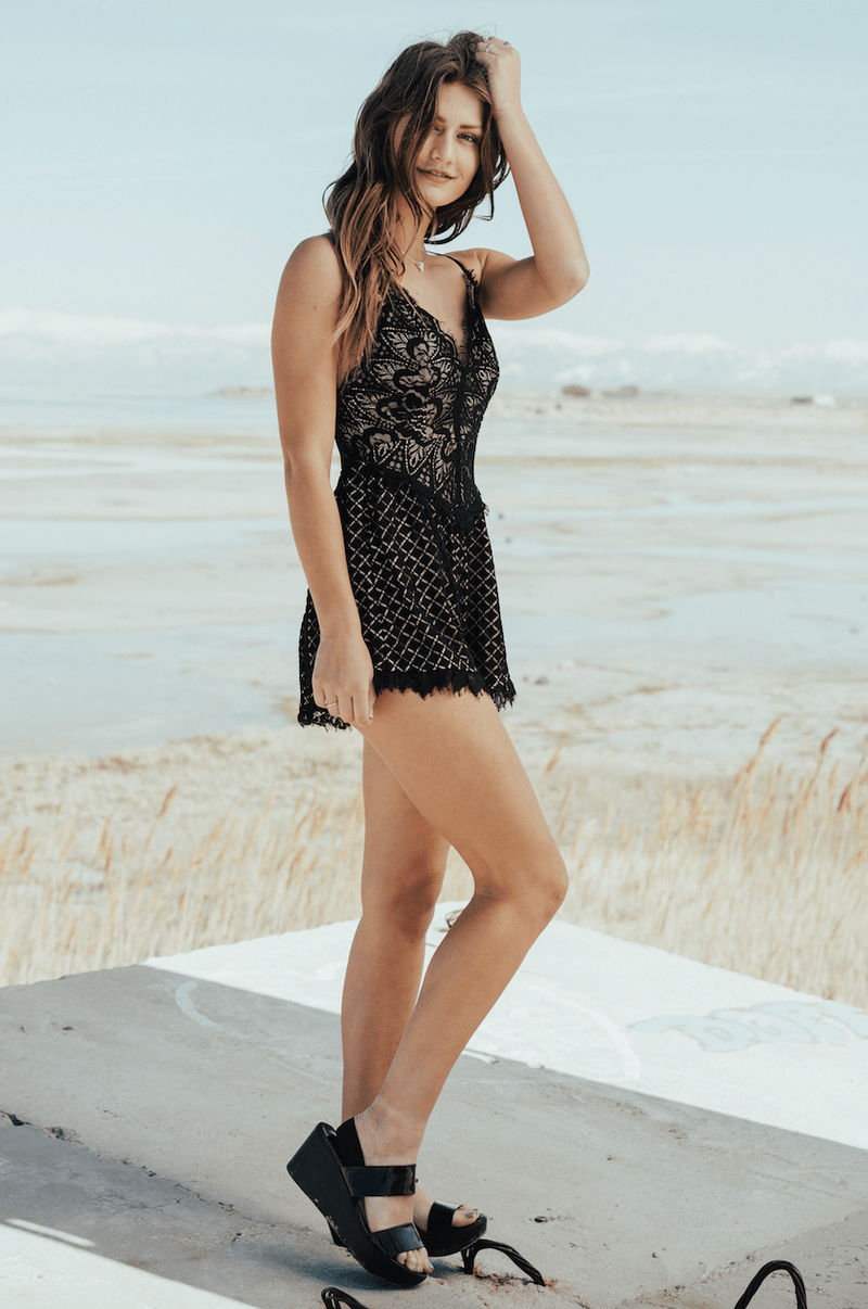 Amora Lace Romper,Rompers