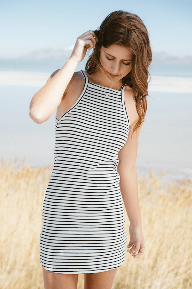 B+W Ribbed Cami Dress,Women - Apparel - Dresses