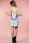 Baby Blue Velvet Shift Dress,Women - Apparel - Dresses