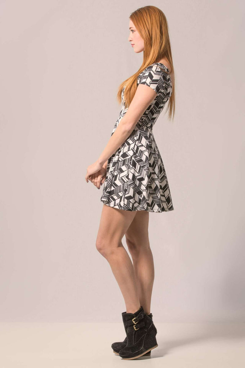Black and White Print Skater Dress,Dresses
